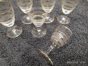 Zlacené sklenice na panáka frťan sada 6 kusů křišťál Bohemia 7,5cm