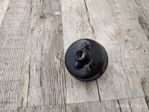 Krásný starý keramický otočný vypínač spínač černý - RETRO