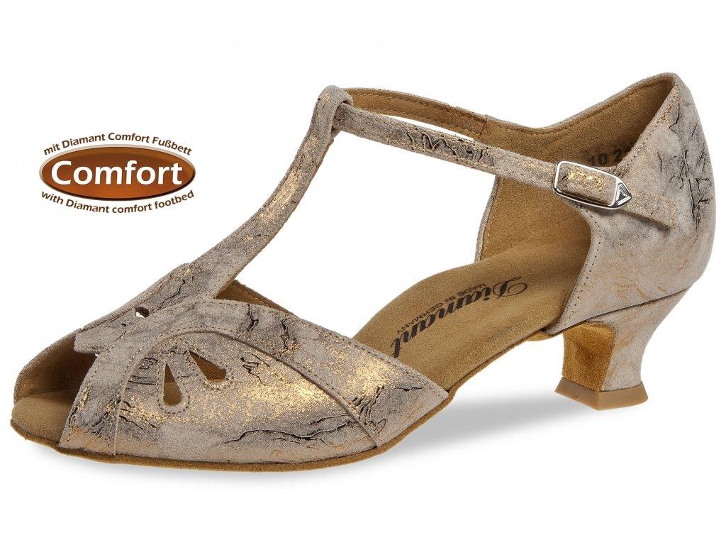 Taneční boty Diamant 019 bronzová - 4,2 cm (velikost 36)