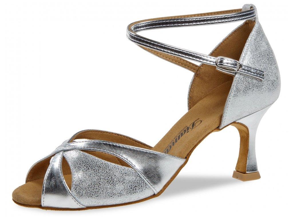 Taneční boty Diamant 141 stříbrná - 6,5 cm Flare (velikost 36)