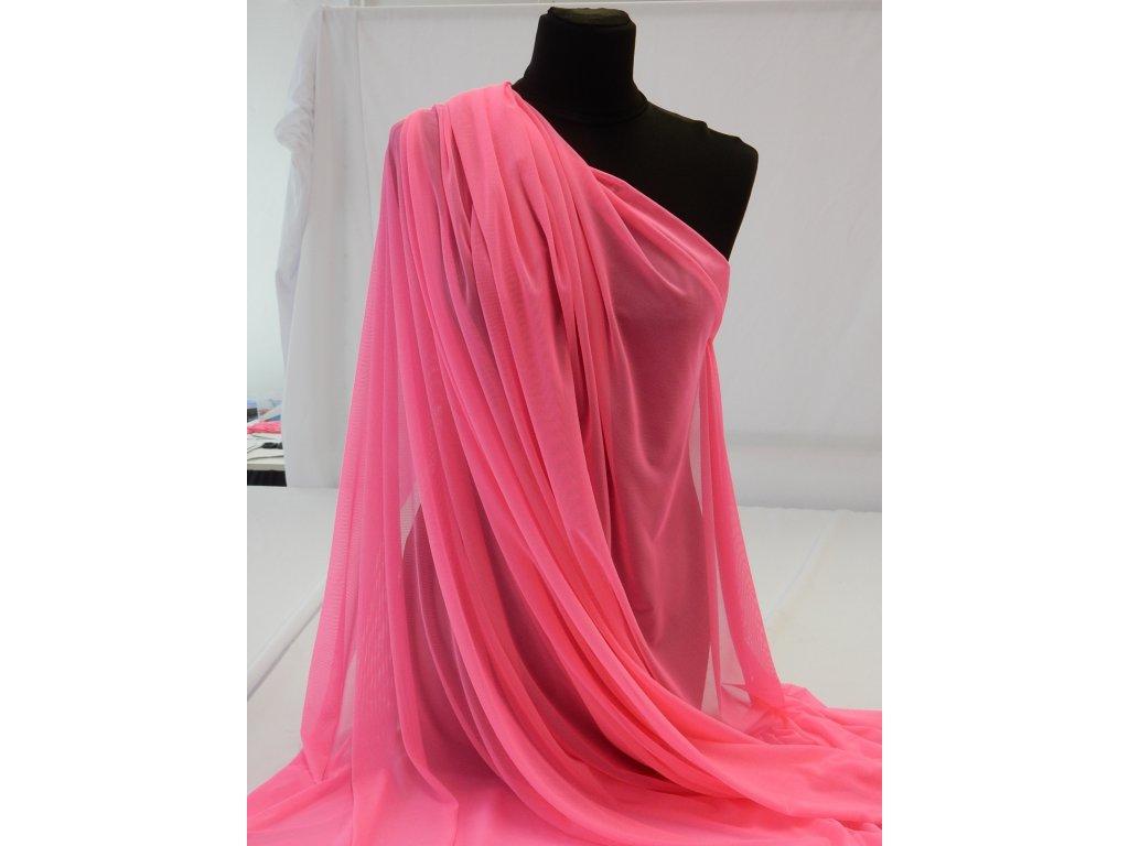 Tyl  elastický -  Růžová Neon