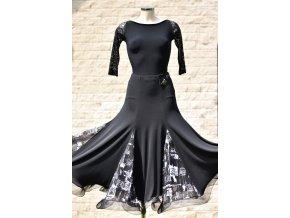 Dámská dlouhá taneční sukně s černo-bílými klíny