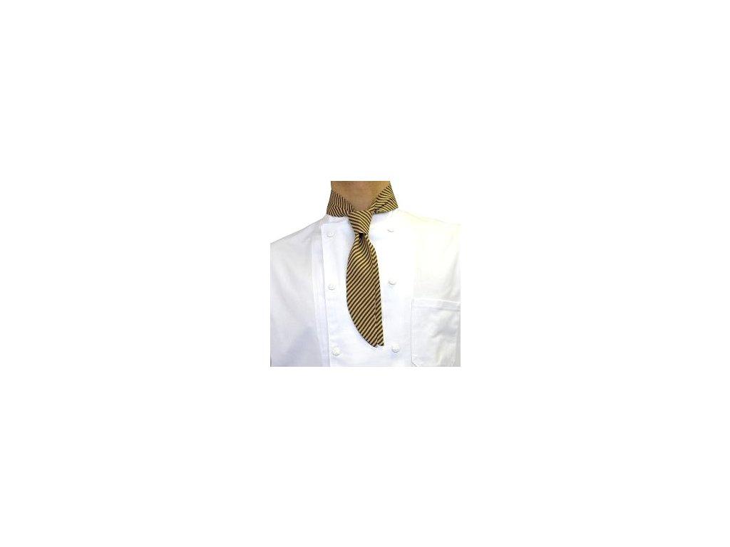 kucharska kravata hnedo zlata detil