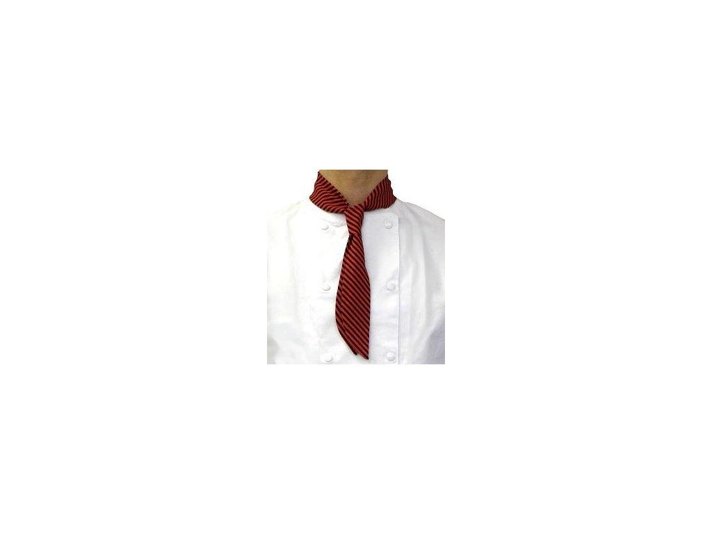 kucharska kravata cerveno cerna detail