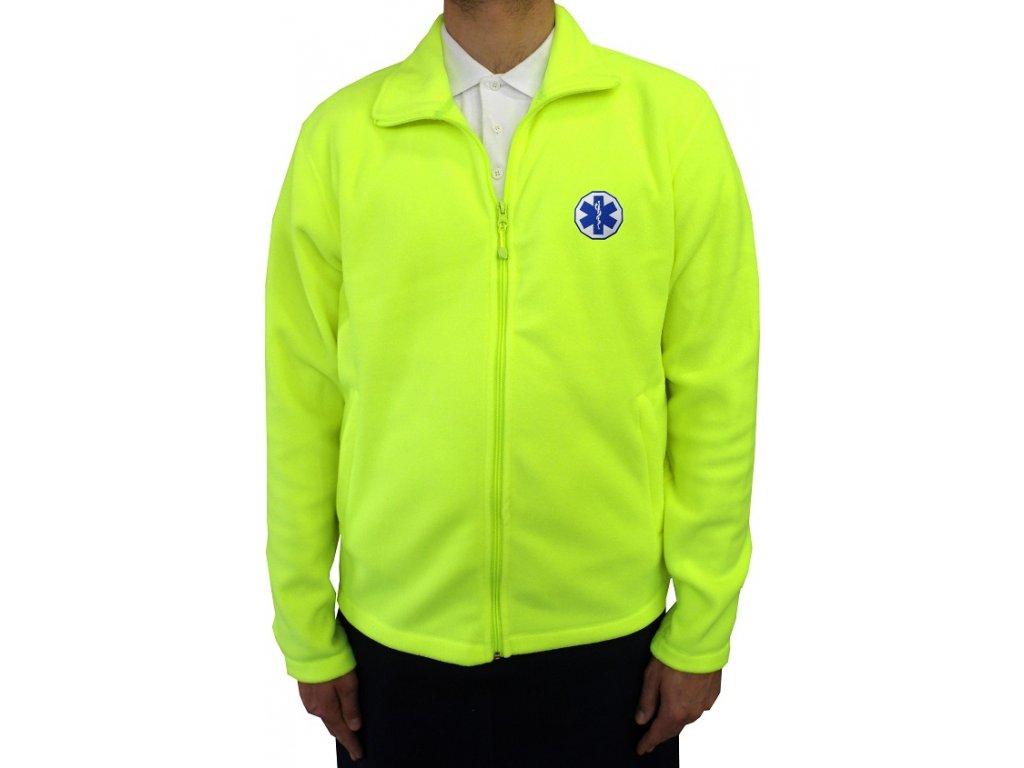 Oblečení pro zdravotníky - záchranářské oblečení - Fleece mikina Záchranář neon 1