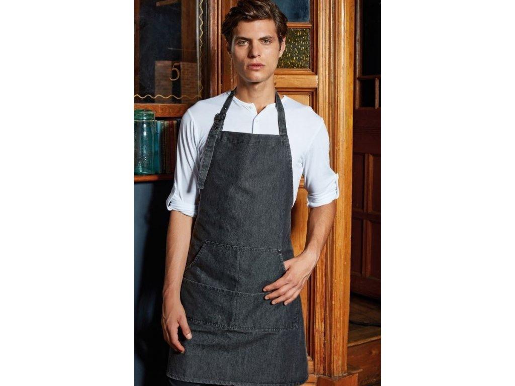 Kuchařská zástěra s laclem Denim