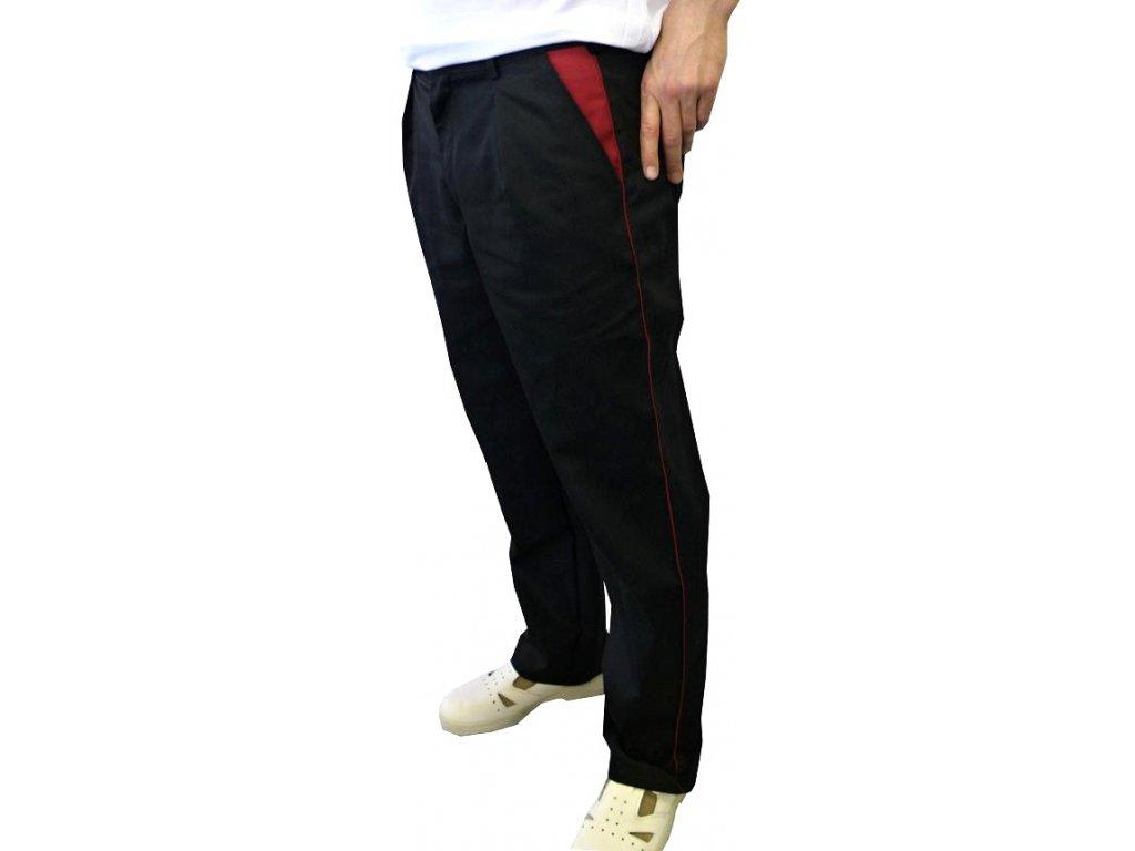 Kuchařské kalhoty Klasik černé lemované bordovou