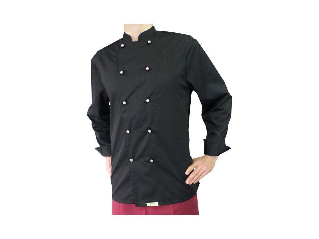 Kuchařský rondon Premium pánský černý dlouhý rukáv