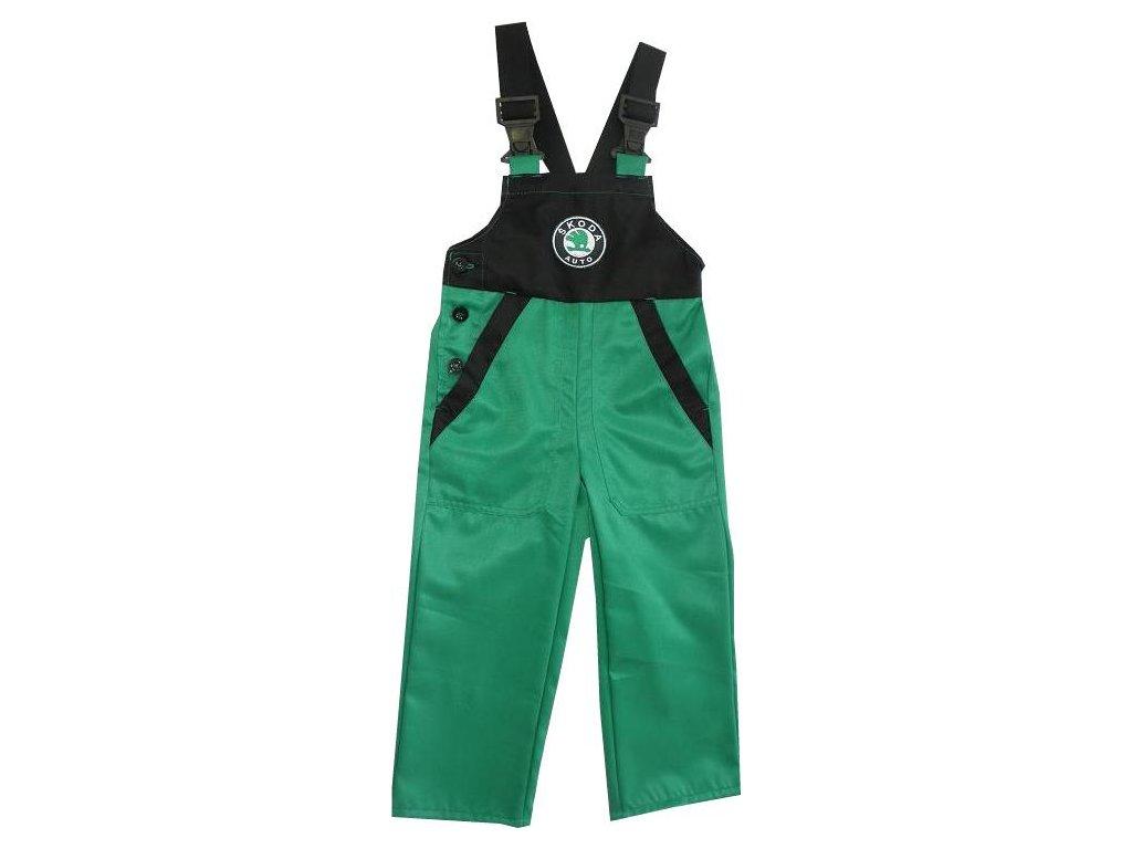 Dětské pracovní kalhoty s laclem Škoda, zelené