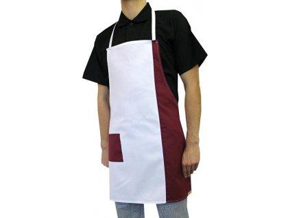 Kuchařská zástěra Duo bílá bordo