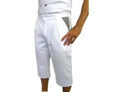 Kuchařské kalhoty Capri bílé-pepito