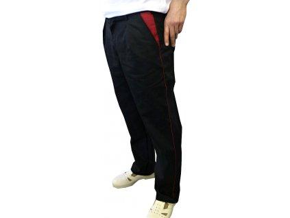 kucharske kalhoty cerne lemovane bordovou