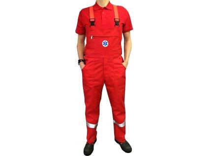 kalhoty s laclem zachranar cervene