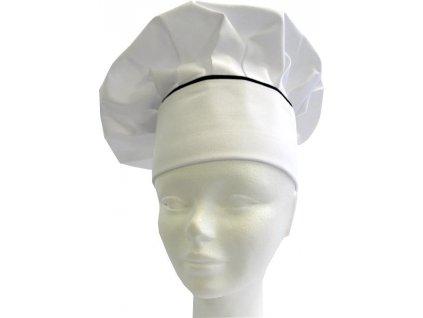 Kuchařská čepice bílá lemovaná černou