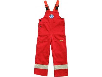 Dětské reflexní kalhoty s laclem Záchranář, červené