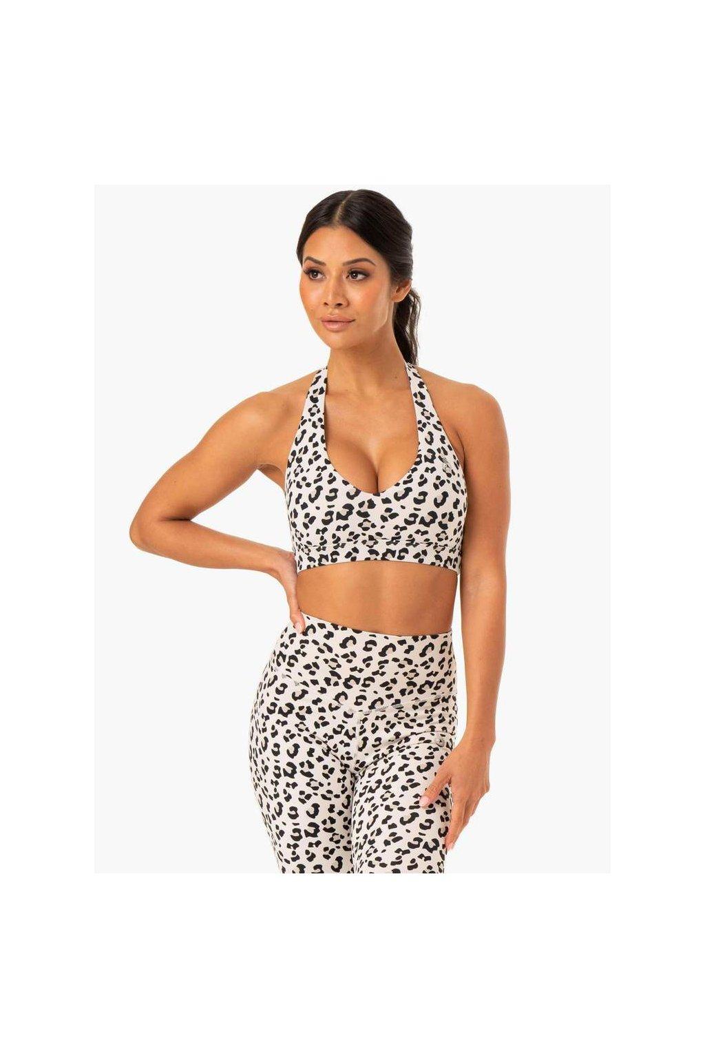 hybrid halter sports bra ivory leopard clothing ryderwear 936659 1000x1000