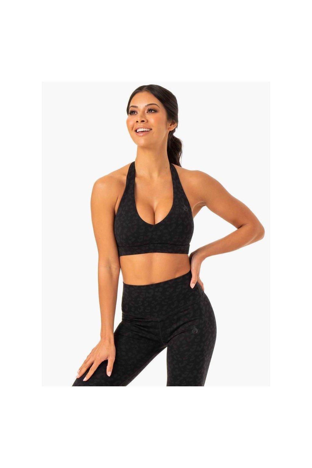 hybrid halter sports bra black leopard clothing ryderwear 702390 1000x1000