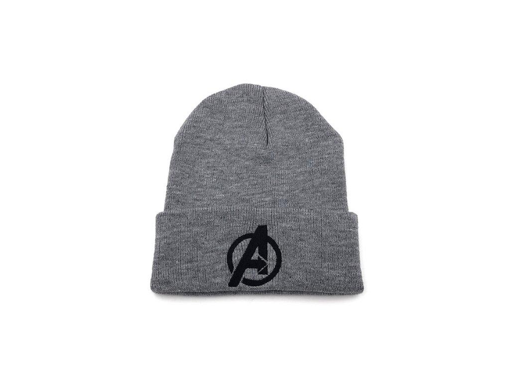 zimní čepice avengers seda
