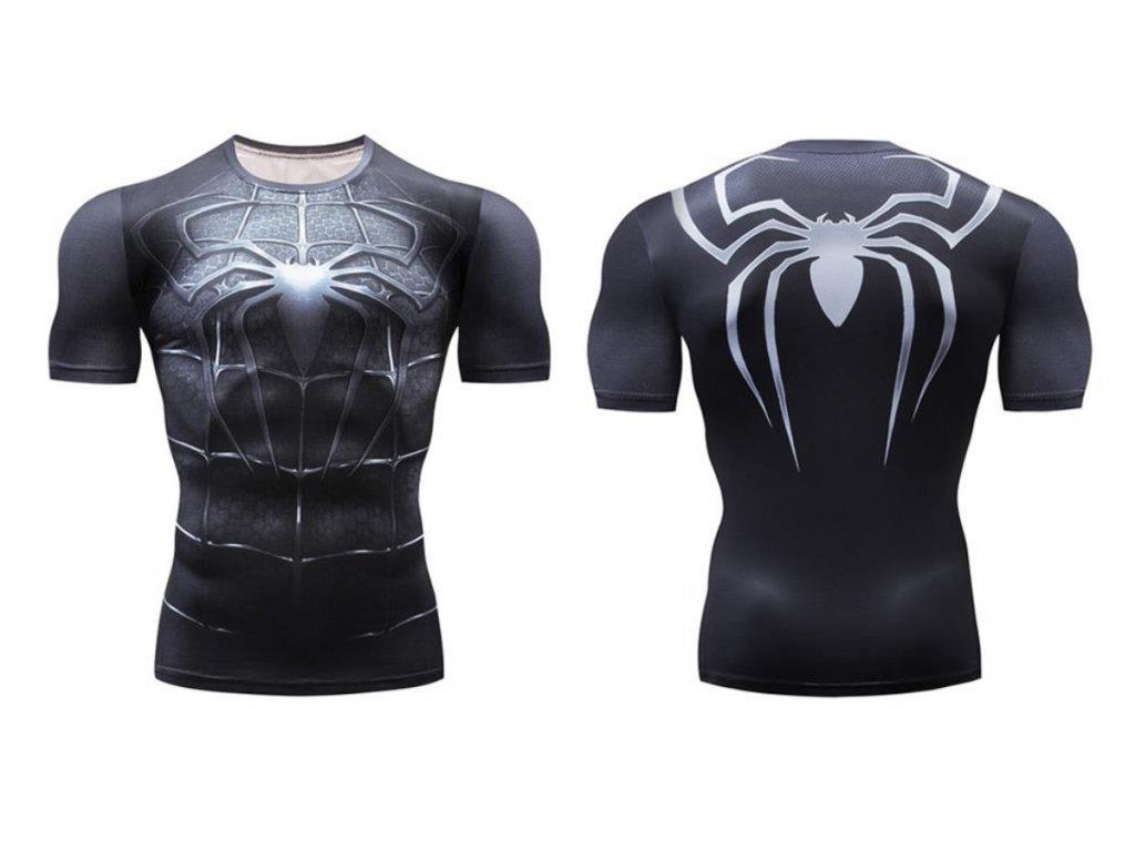 fitess tričko spiderman black