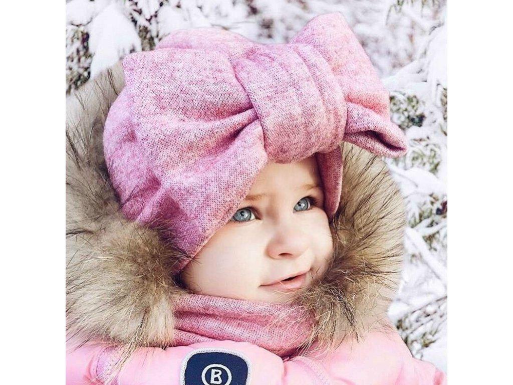 dětská zimní čepice pink