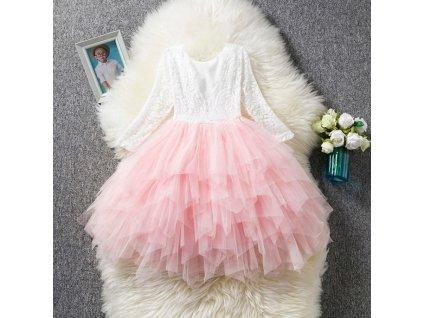 šaty dívčí whitepink