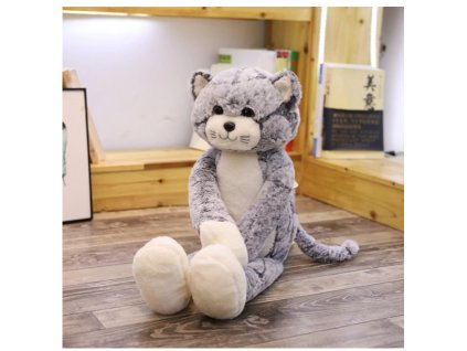 plyšák kočka šedá