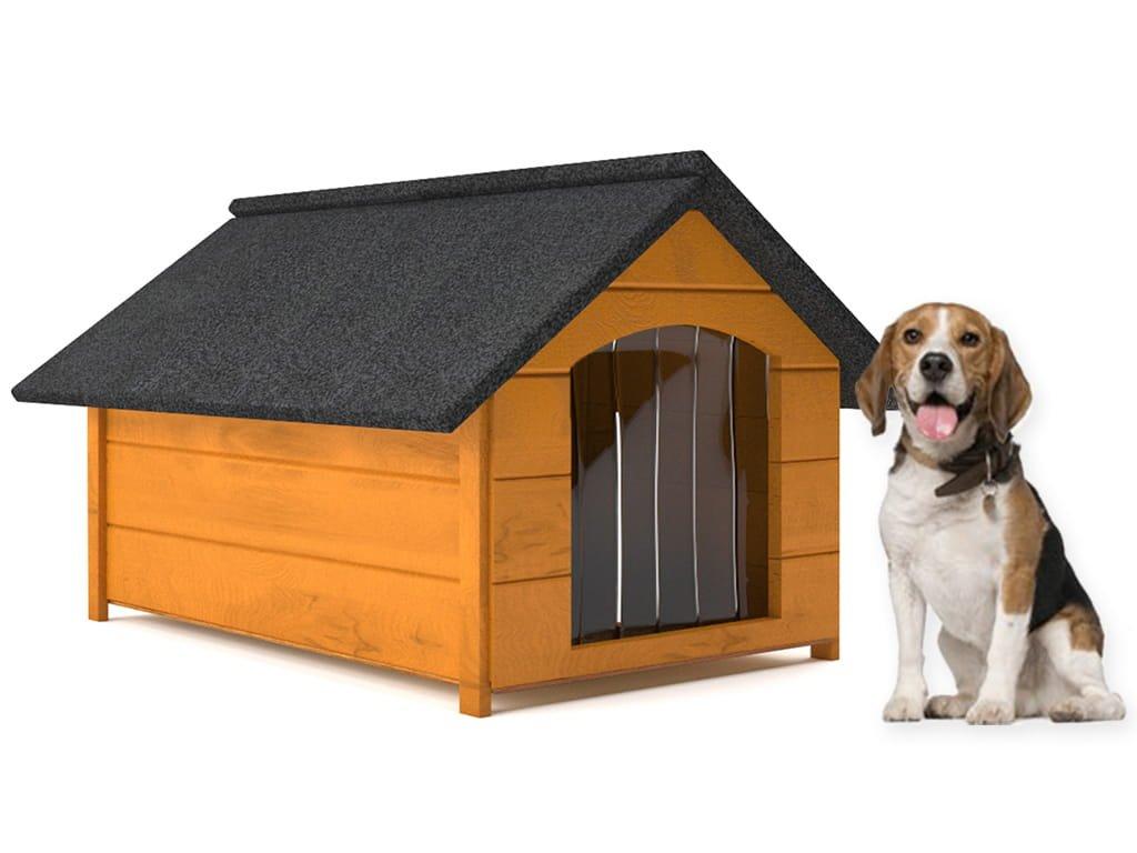 psia buda drevena zateplena velkost l borovica so zavesom