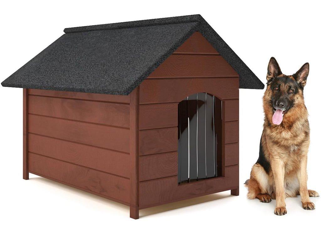 psia buda drevena zateplena velkost xl hneda so zavesom