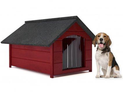 psia buda drevena zateplena velkost l mahagon so zavesom