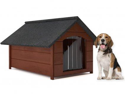 psia buda drevena zateplena velkost l hneda so zavesom