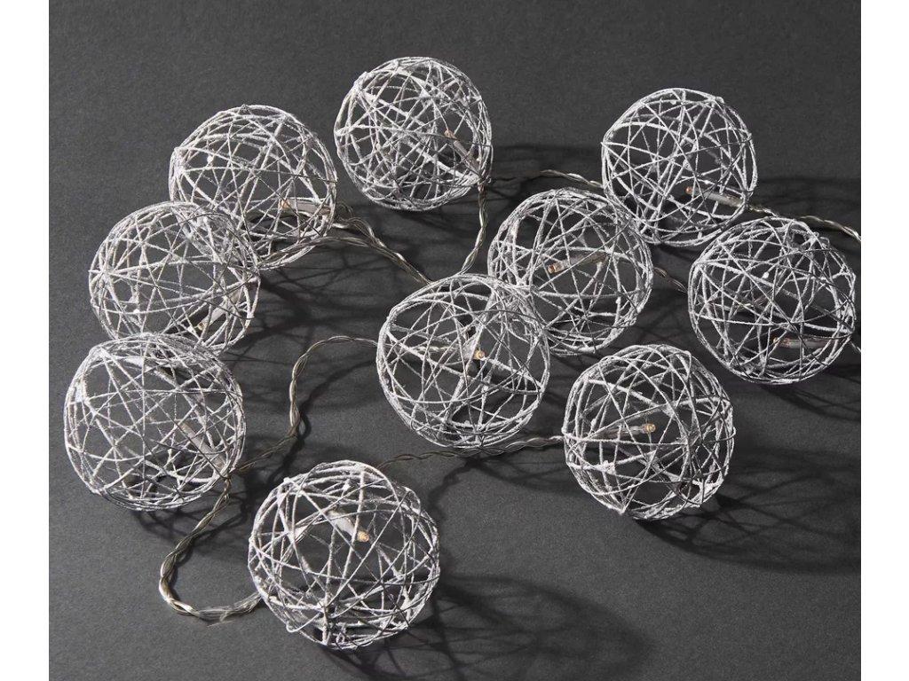 Vánoční Světelný řetěz třpytivé koule 3 barvy (Osvětlení Barevná 5m - 50 led diod)
