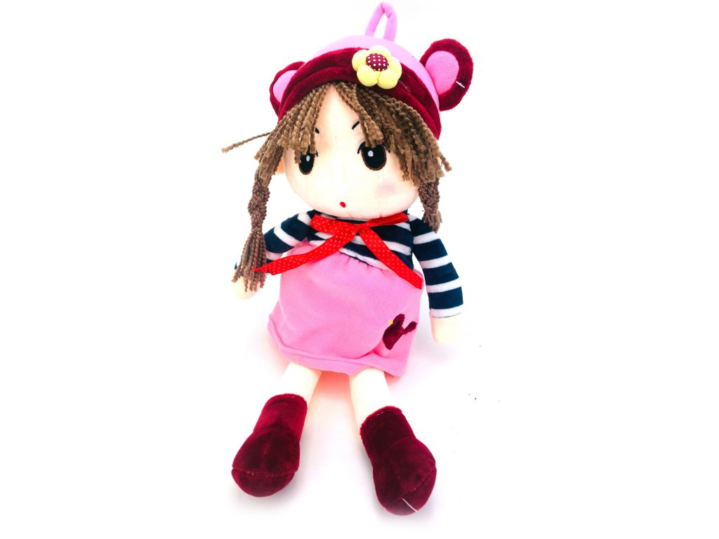 Plüss játékbaba füles sapkában (50 cm)