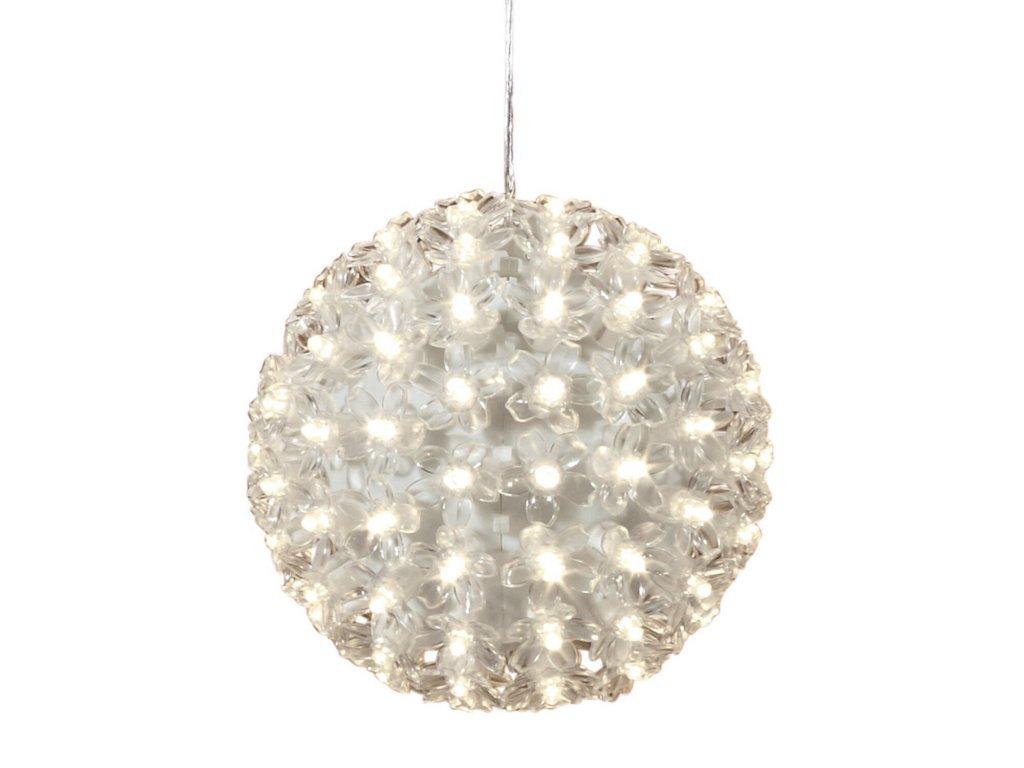 Karácsonyi LED fénygömb virággal - 12 cm