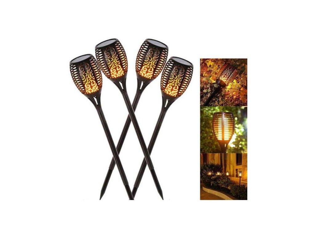 Napelemes kerti lámpa lángutánzattal (4 db)