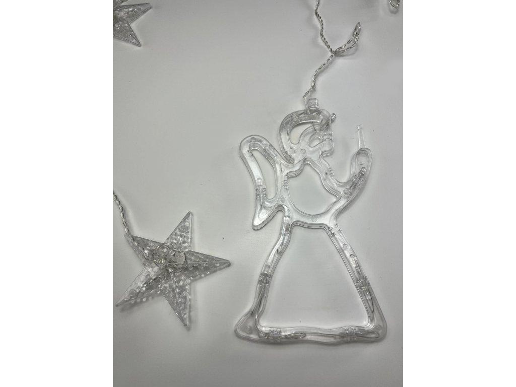 Beltéri karácsonyi LED fényfüggöny - Csillagok angyallal 2,5 m (138 LED)