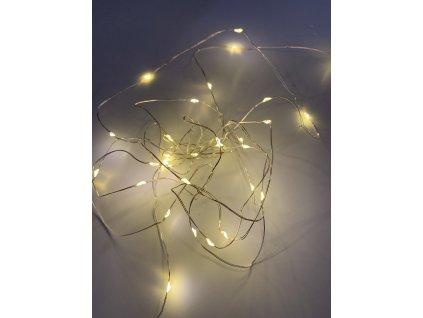 Vnitřní vánoční mikro řetez - Teplá bílá 20 až 100 led na baterie (Osvětlení Teplá bílá 10m - 100 led diod)