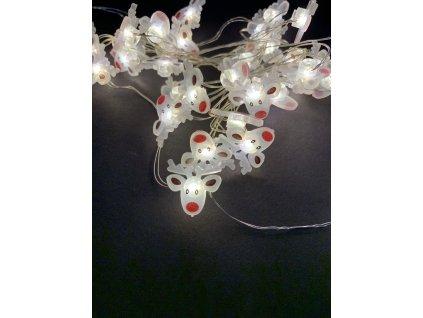 Vnitřní vánoční mini řetez -ve tvaru sobí hlavička až 40 led na baterie (Osvětlení Studená bílá 2m - 20 led diod)