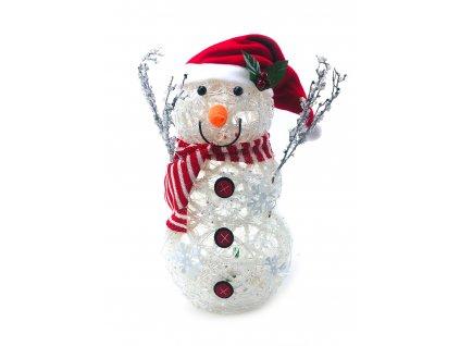 152204 svitici led snehulak v cepici s cervenobilou salou 41 cm