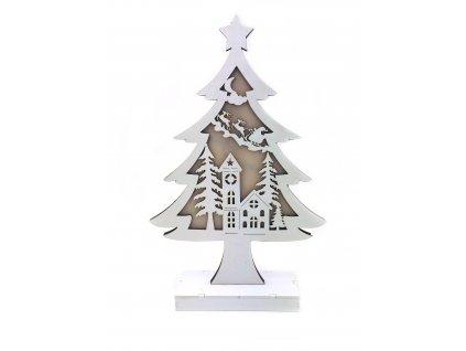 Dřevěný svítící strom - Santa Claus na saních (Osvětlení 33 cm)