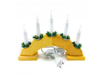 Vánoční svícen oblouk - 5 žárovek (do zásuvky) (Opicka Bílý)