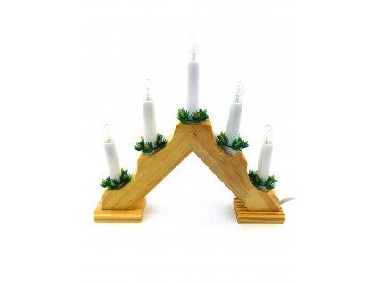 Vánoční svícen pyramida - 5 žárovek (do zásuvky) (Opicka Bílý)