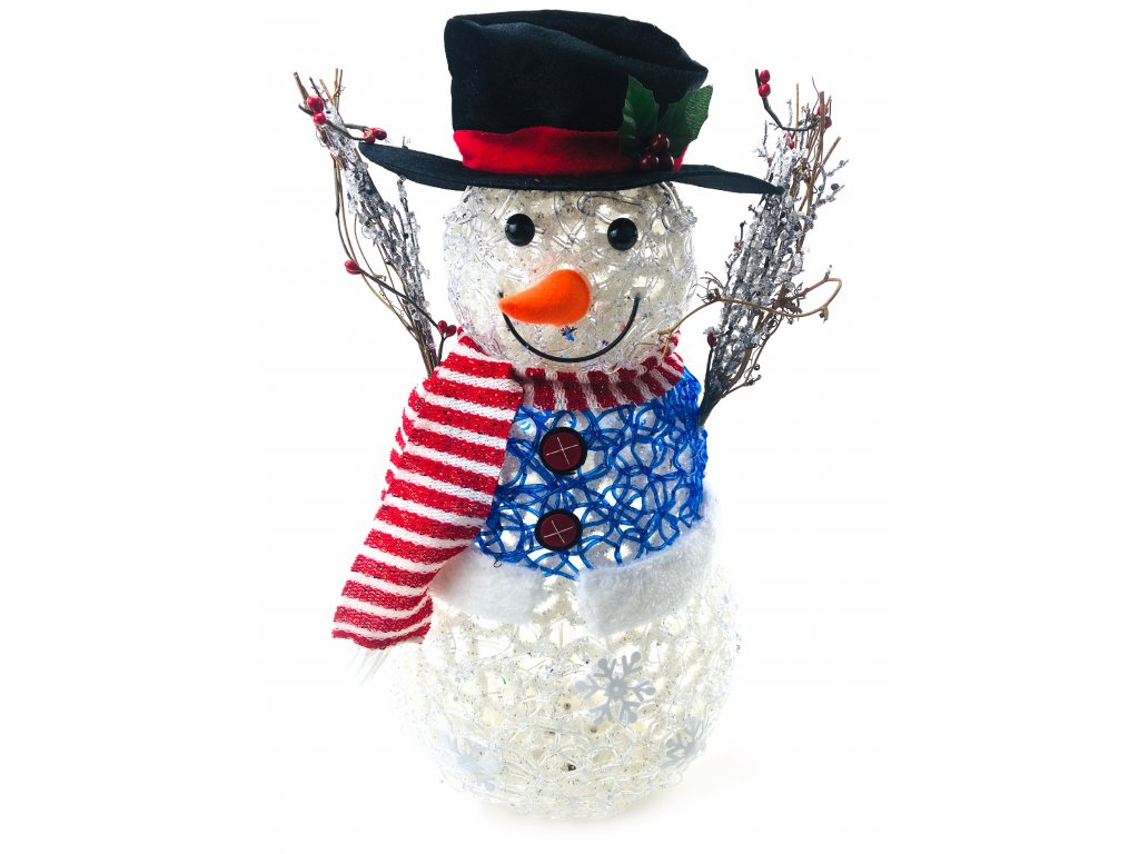 152213 svitici led snehulak v klobouku a modrem svetru 55 cm