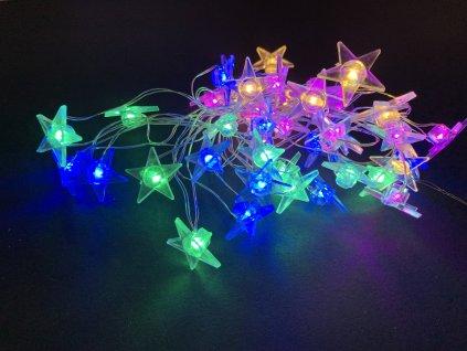 Vnitřní vánoční mini řetez - ve tvaru hvězdiček až 40 led na baterie (Osvětlení Barevná 2m - 20 led diod)