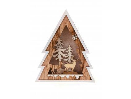 152072 drevena svitici dekorace strom jelen a lan