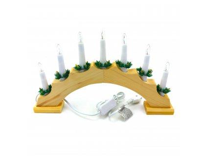 Vánoční svícen oblouk - 7 žárovek (do zásuvky) (Opicka Bílý)
