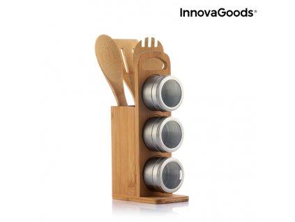 set of magnetic spice racks with bamboo utensils bamsa innovagoods 7 kusy 102418 (5)