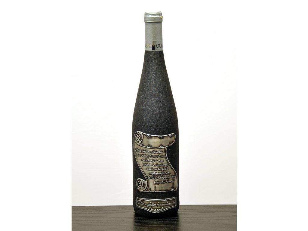 Rýnska flaša čierna trblietava - biele víno