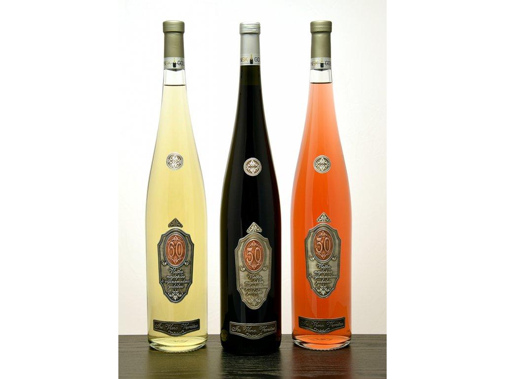 Rýnska fľaša Všetko najlepšie k jubileu - biele víno