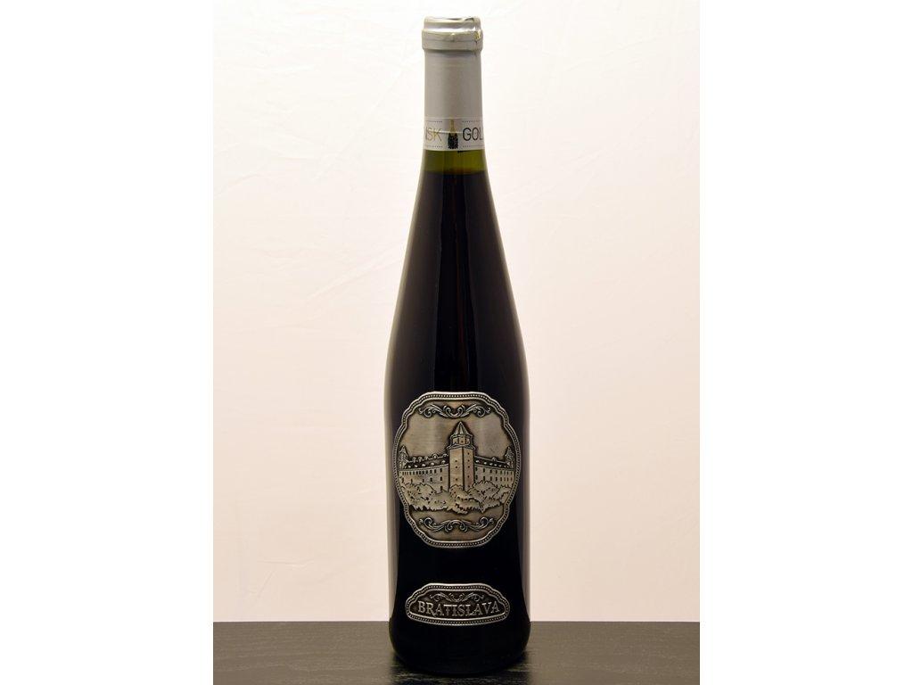 Rýnska fľaša s cínovou etiketou Bratislavský hrad - biele víno