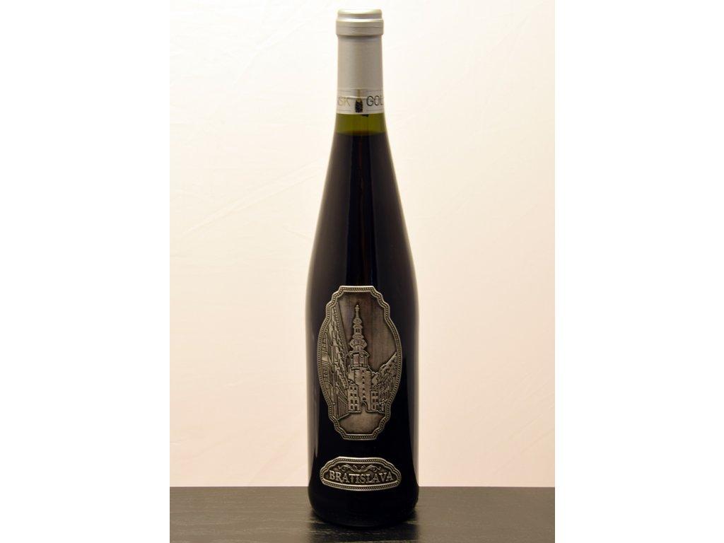 Rýnska fľaša s cínovou etiketou Michalská brána - biele víno